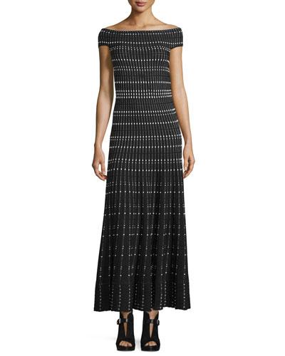 Off-The-Shoulder Plisse Gown, Black/Ivory