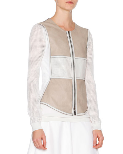 Two-Tone Leather Vest, Stone/White