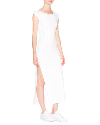 Cap-Sleeve Ballet Dress W/Mesh Insets, White