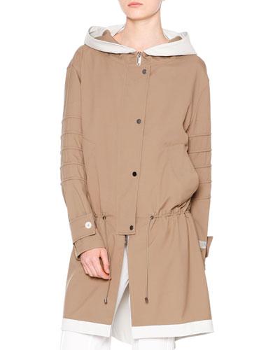 Waterproof Hooded Drawstring Coat, Almond/Chalk