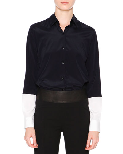Long-Sleeve Button-Front Blouse, Navy/White