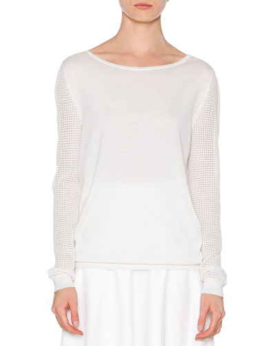 Open-Weave Long-Sleeve Sweater, Off White