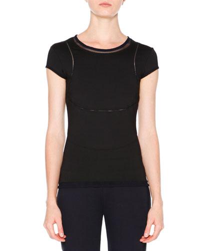 Cap-Sleeve Mesh-Inset T-Shirt, Black