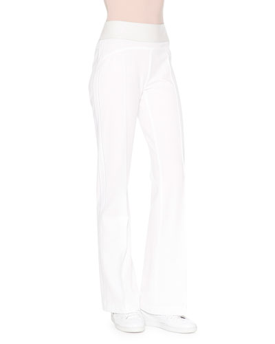 High-Waist Flare-Leg Pants, White