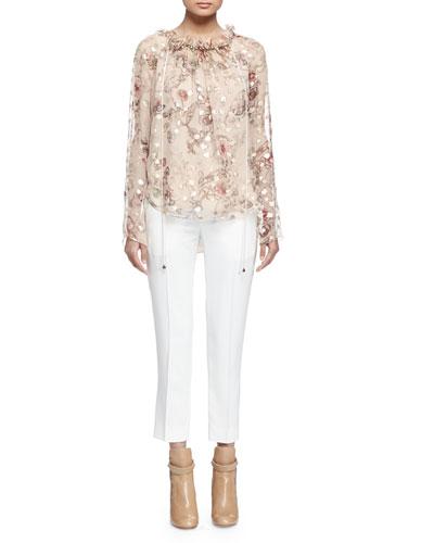 Long-Sleeve Floral-Print Blouse, Beige/Gold