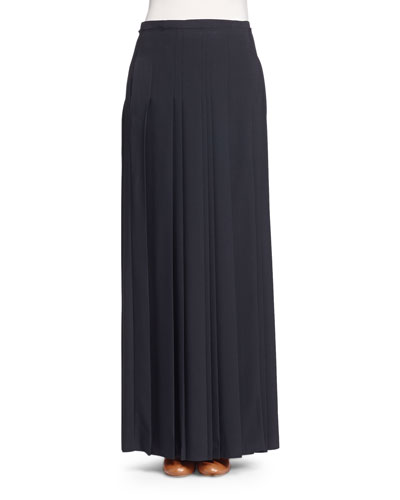 Black Maxi Pleated Skirt | Neiman Marcus
