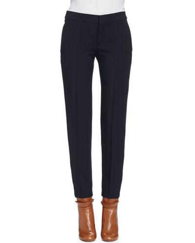 Light-Cady Straight-Leg Pants, Black