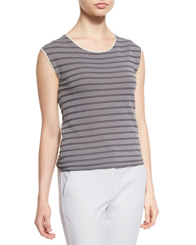 Cap-Sleeve Cubic-Knit Tee, White/Gray