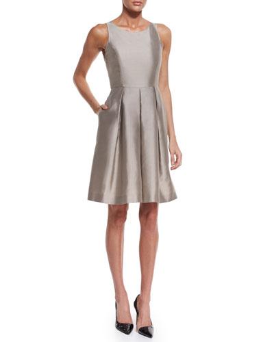 Sleeveless Fit-&-Flare Dress, Tan