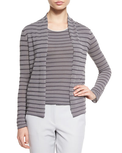 Open-Front Cubic-Knit Cardigan, White/Gray