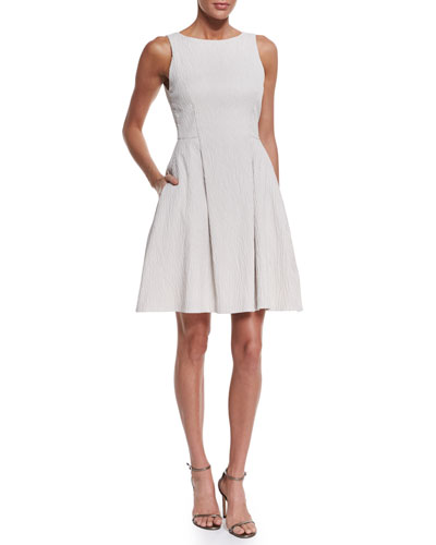 Sleeveless Textured A-Line Dress, Ivory