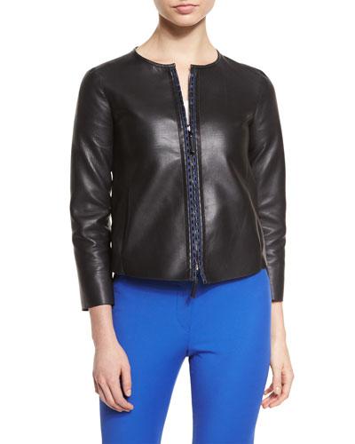 Reversible Leather Jacket, Black