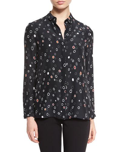 Long-Sleeve Pebble-Print Blouse, Black