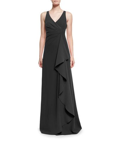 Techno Cady Side-Ruffle Gown, Black
