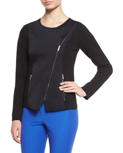 Asymmetric-Zip Long-Sleeve Jacket, Black