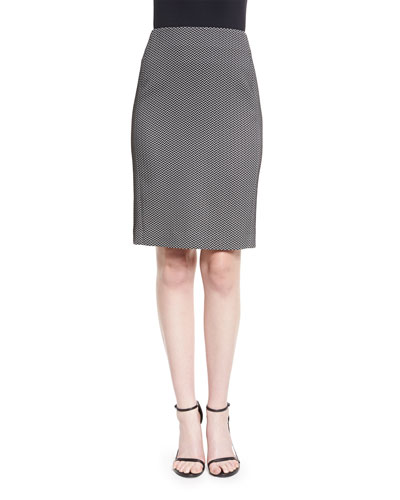 Chevron Jacquard Pencil Skirt, Black