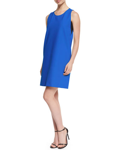 Sleeveless Scoop-Neck Shift Dress, Blue