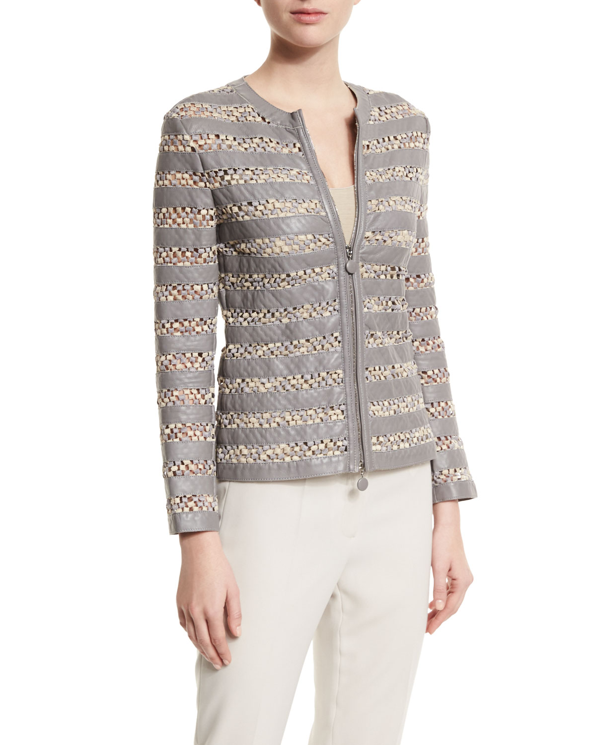 Leather Macrame Zip-Front Jacket, Dust