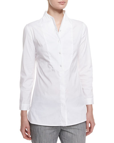 Long-Sleeve Button-Front Poplin Blouse, White