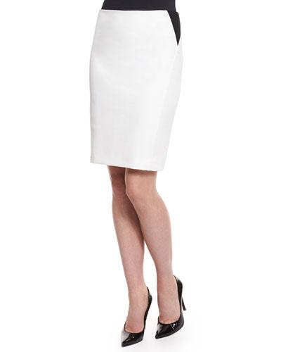 Two-Tone Pencil Skirt, White