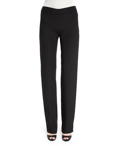 Silk-Blend Side-Zip Trouser Pants, Black