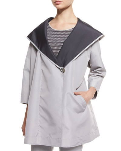 3/4-Sleeve Reversible Coat, Gray