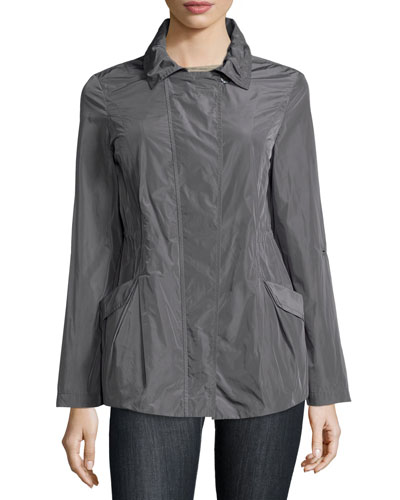 Long-Sleeve Slim-Fit Jacket, Slate