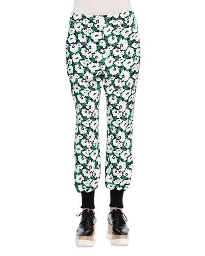 Floral-Print Harem Pants, Black