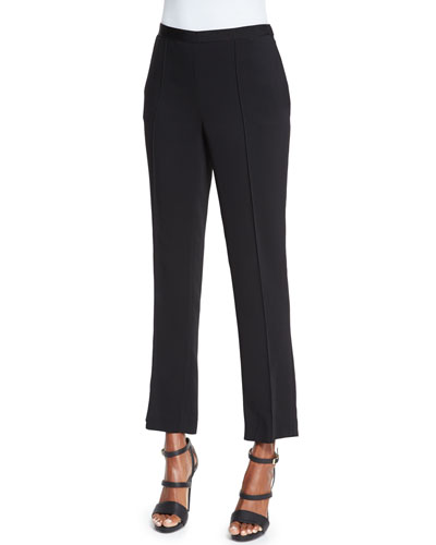 Straight-Leg Cropped Pants, Black
