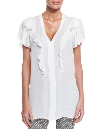 Flutter-Sleeve V-Neck Blouse, White