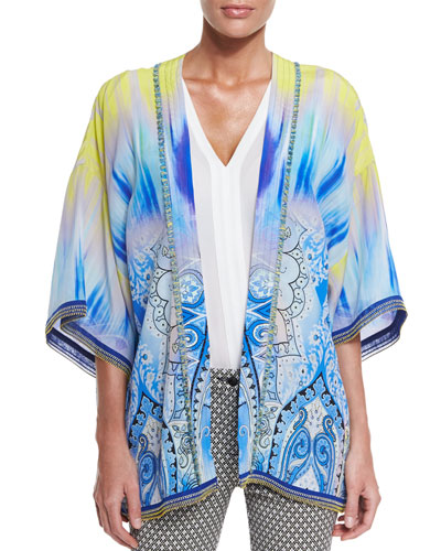 Open-Front Tie-Dye Jacket, Blue