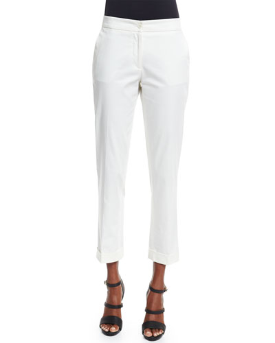 Straight-Leg Capri Pants, Ivory