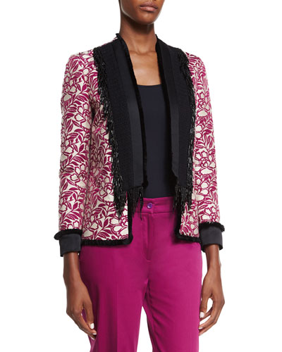 Embroidered Beaded-Fringe Jacket, White/Magenta