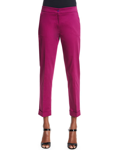 Straight-Leg Capri Pants, Magenta
