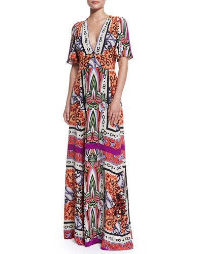 Short-Sleeve Multi-Print Maxi Dress, Magenta