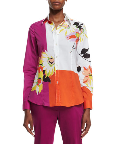 Colorblock Blossom-Print Shirt, Magenta/Orange