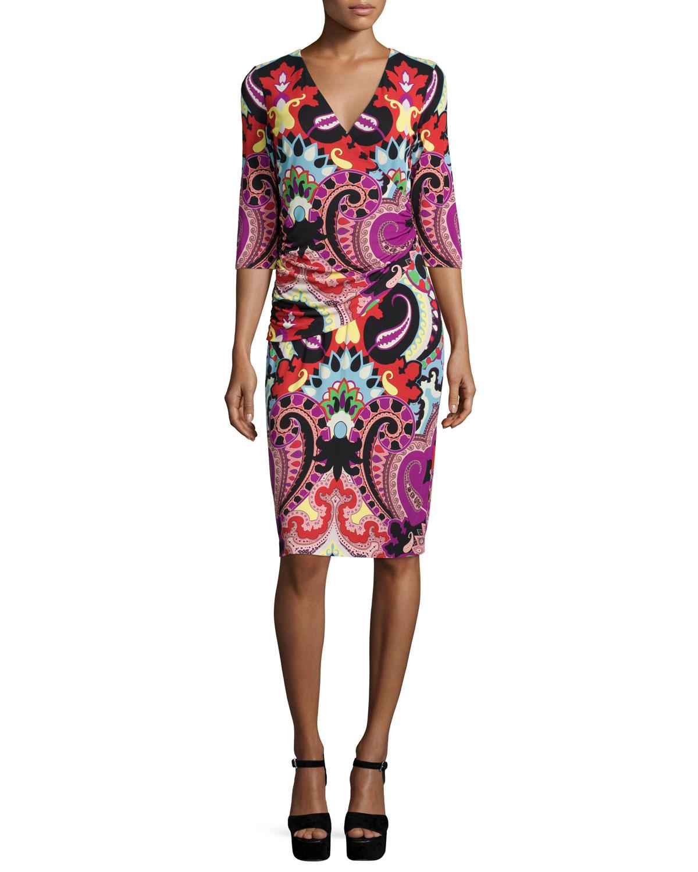 3/4-Sleeve Paisley Faux-Wrap Dress, Magenta