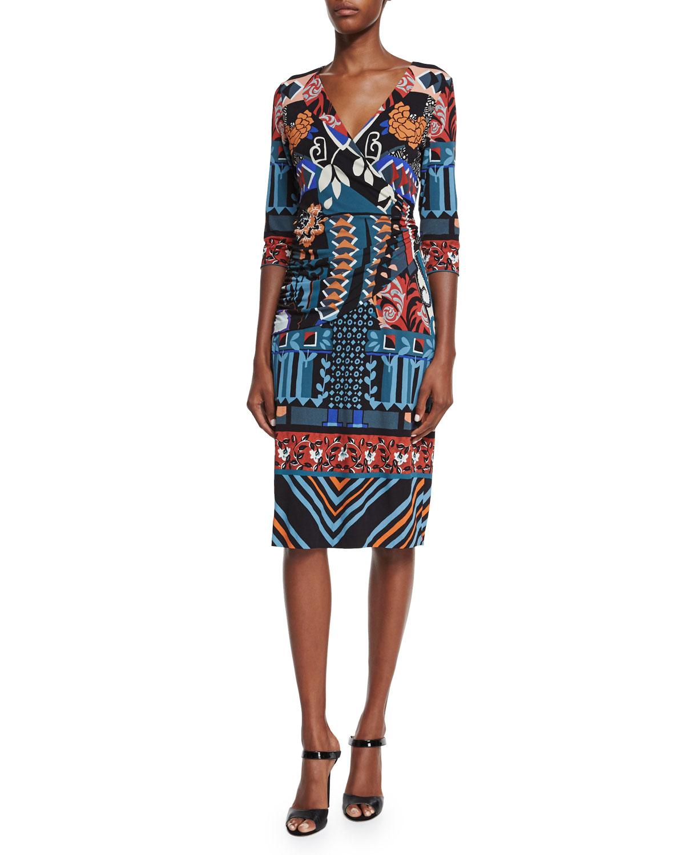 3/4-Sleeve Faux-Wrap Dress, Black/Blue/Red