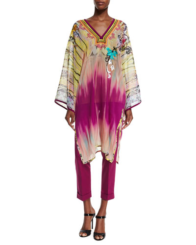 Paisley-Embroidered Dip-Dye Tunic, Yellow/Pink