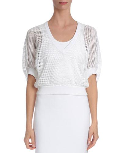 Victorian-Sleeve V-Neck Mesh Pullover, White