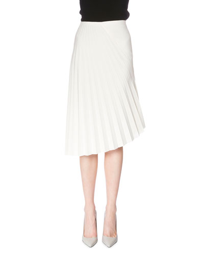 Fan-Pleated Asymmetric Skirt, White