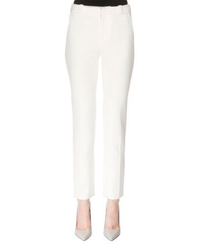 Skinny-Fit Capri Pants, White