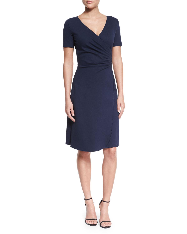 Short-Sleeve Faux-Wrap Dress, Navy