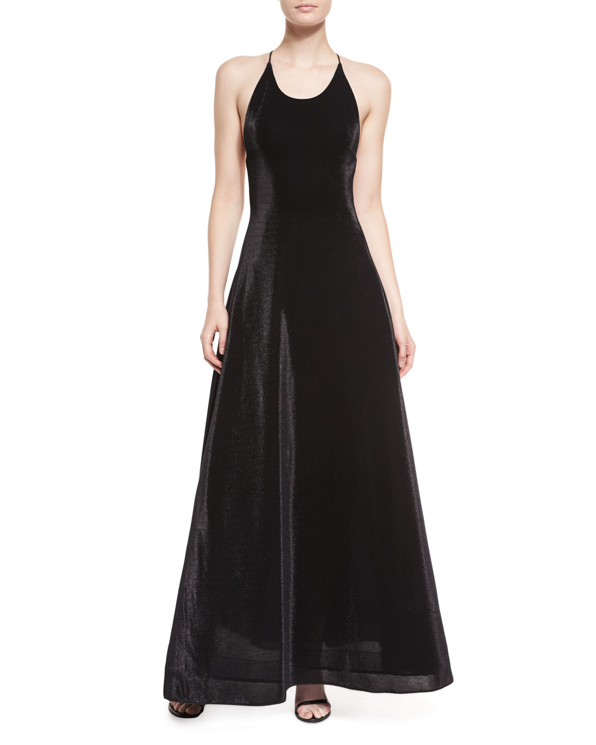 Halter-Neck Iridescent Gown, Black