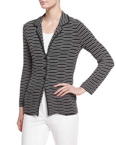 Striped Three-Button Jacket, Pumice