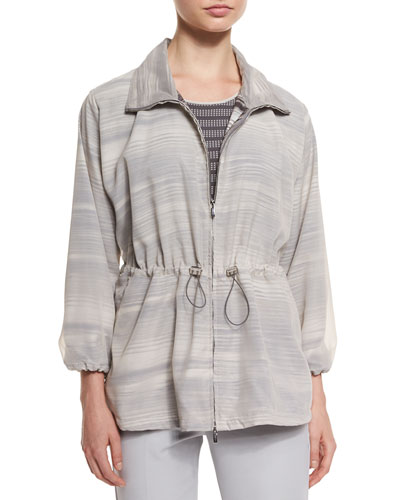 3/4-Sleeve Striped Coat, Seashell/Clay