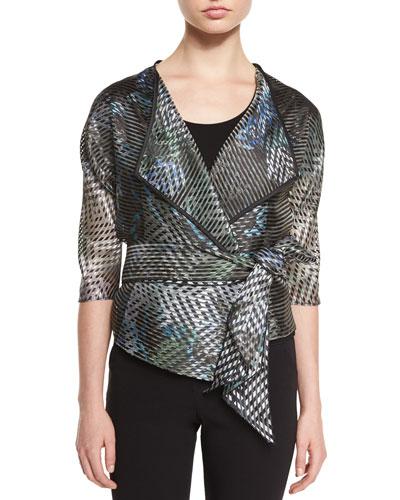 3/4-Sleeve Sheer-Stripe Jacket, Multi Colors
