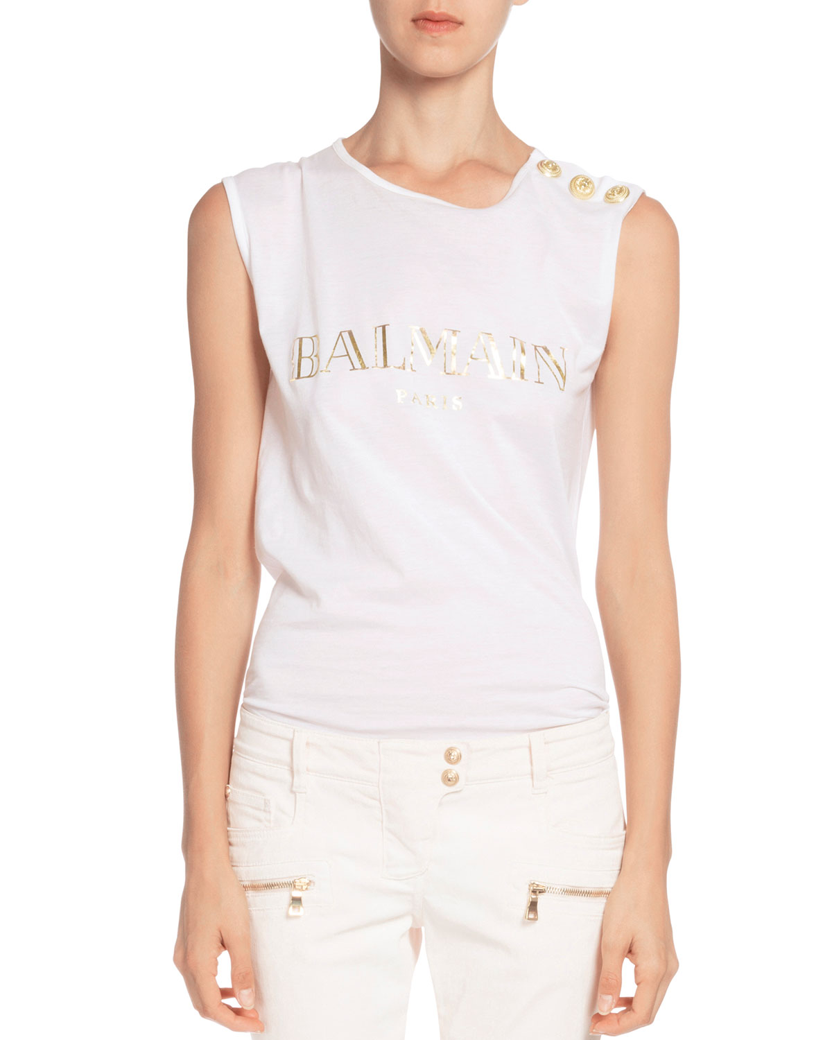 Sleeveless Logo-Print Tee, White