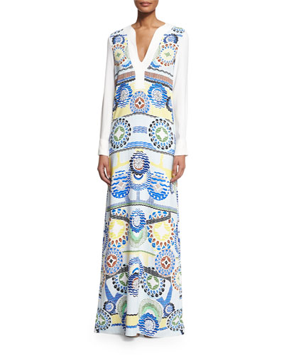 Long-Sleeve Printed Maxi Dress, White