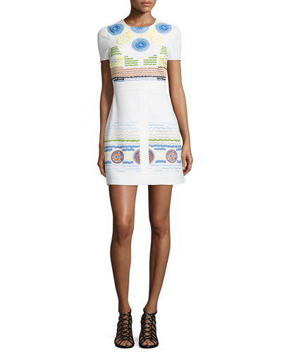 Embroidered Circle-Print Shift Dress, White